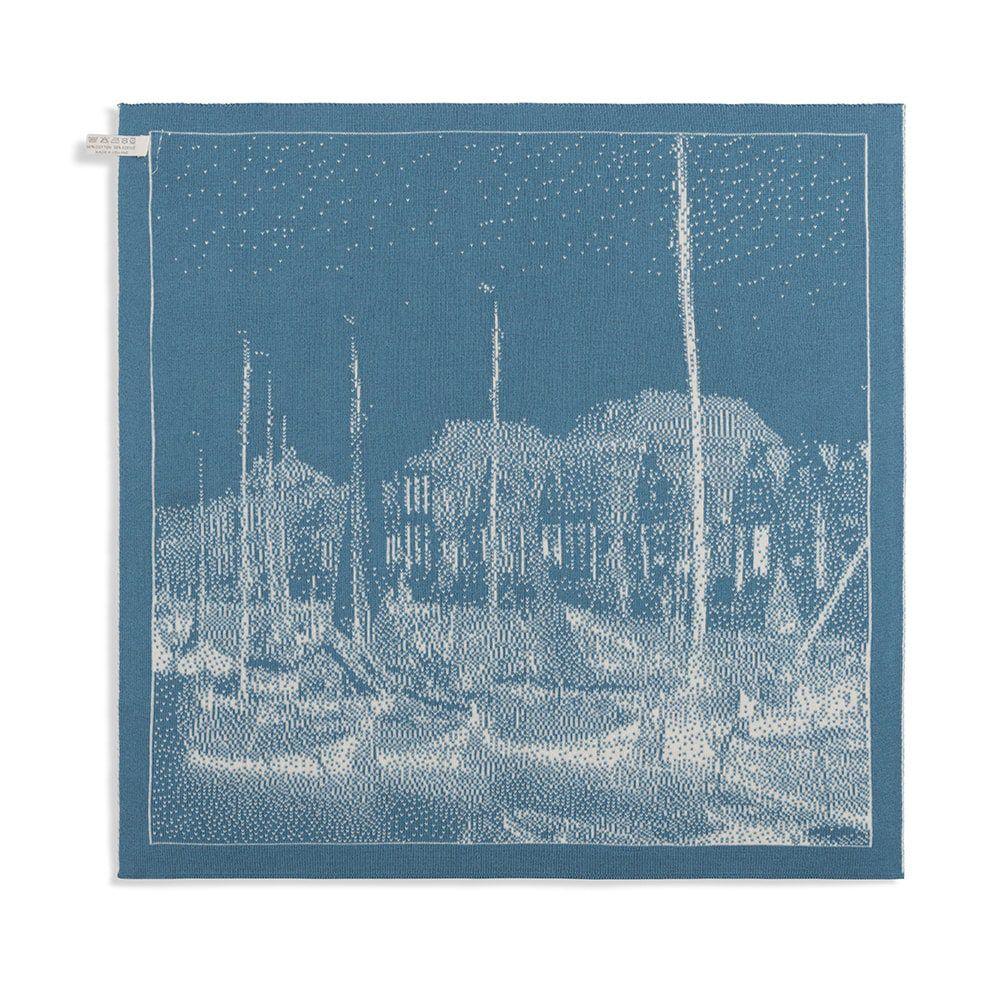 knit factory 2330080 keukendoek haven ecru ocean 2