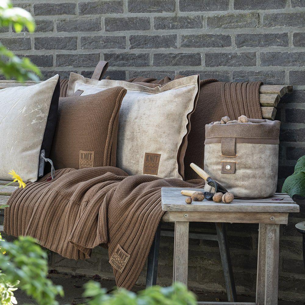 knit factory kf11301303550 kussen 60x40 uni tobacco 4