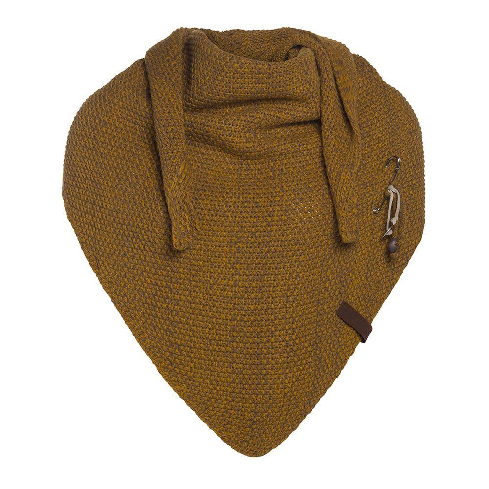 knit factory kf12006008750 coco omslagdoek oker tobacco 1