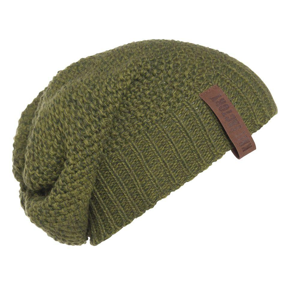 knit factory kf12007008550 coco beanie mosgroen khaki 1