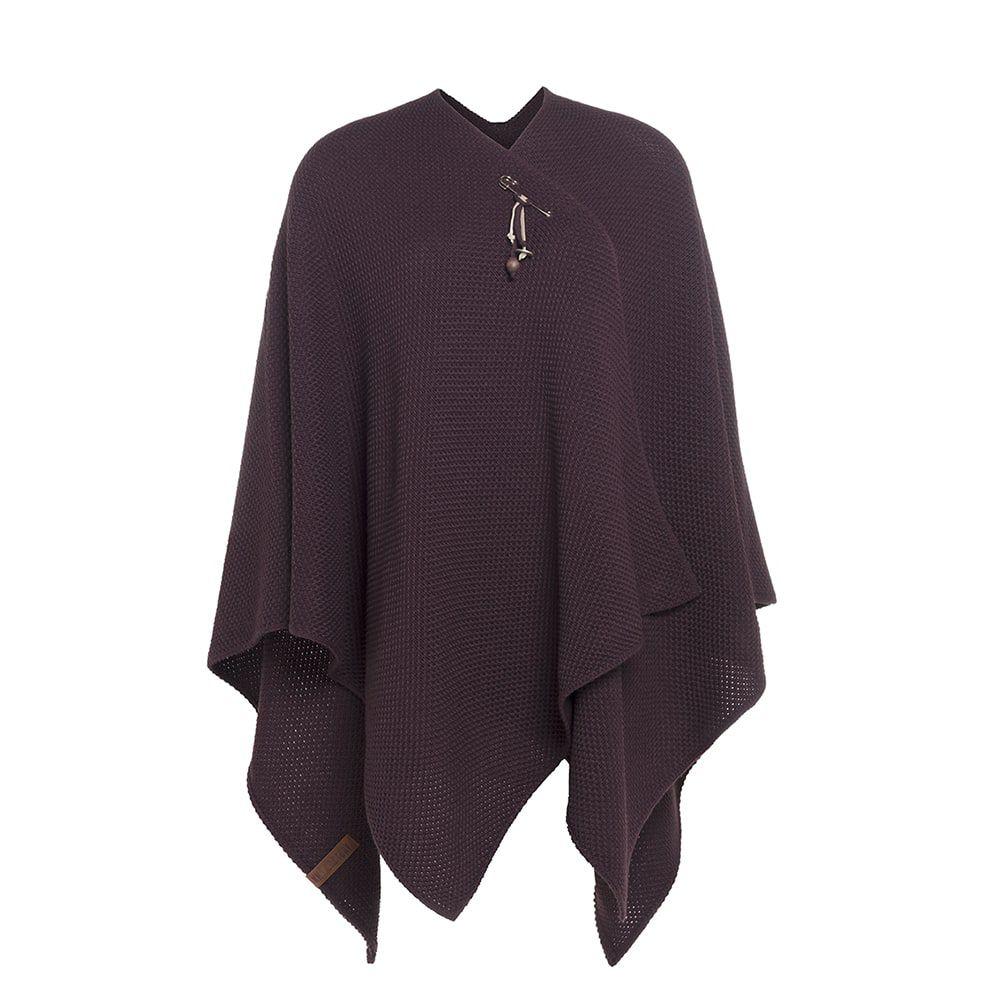 knit factory kf12306102350 jazz omslagvest aubergine 1
