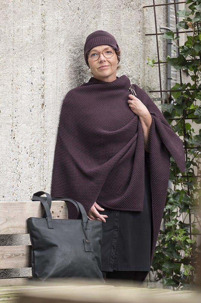 knit factory kf12306102350 jazz omslagvest aubergine 3