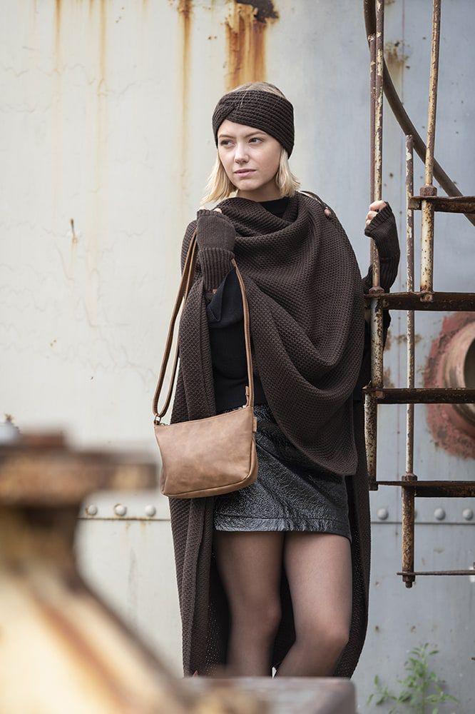 knit factory kf123061037 jazz omslagvest donkerbruin 5