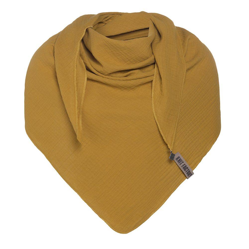 knit factory kf128060017 liv omslagdoek oker 1