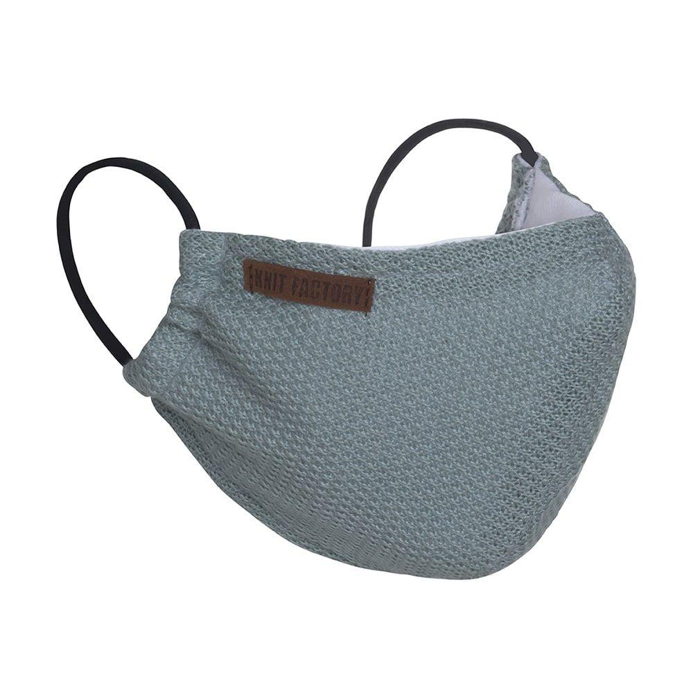 knit factory kf13010500950 lola mondmasker stone green 1