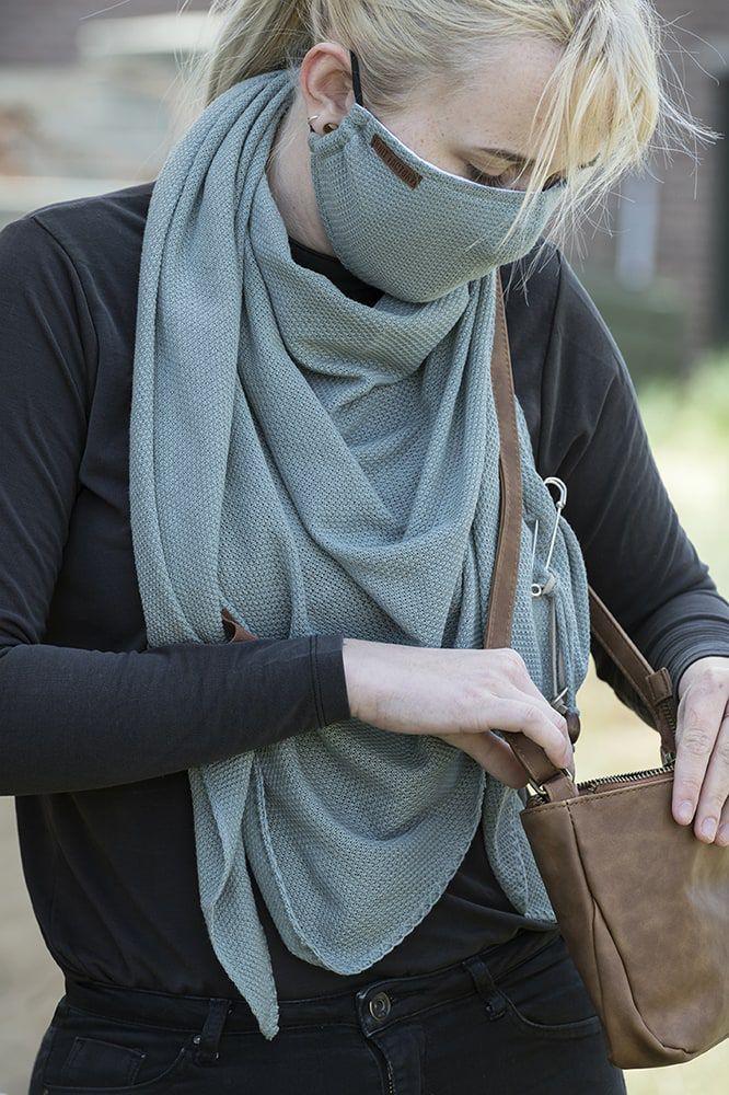 knit factory kf13010500950 lola mondmasker stone green 3