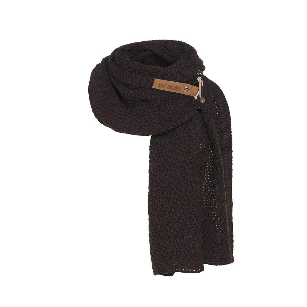 knit factory kf133065037 luna sjaal donkerbruin 1