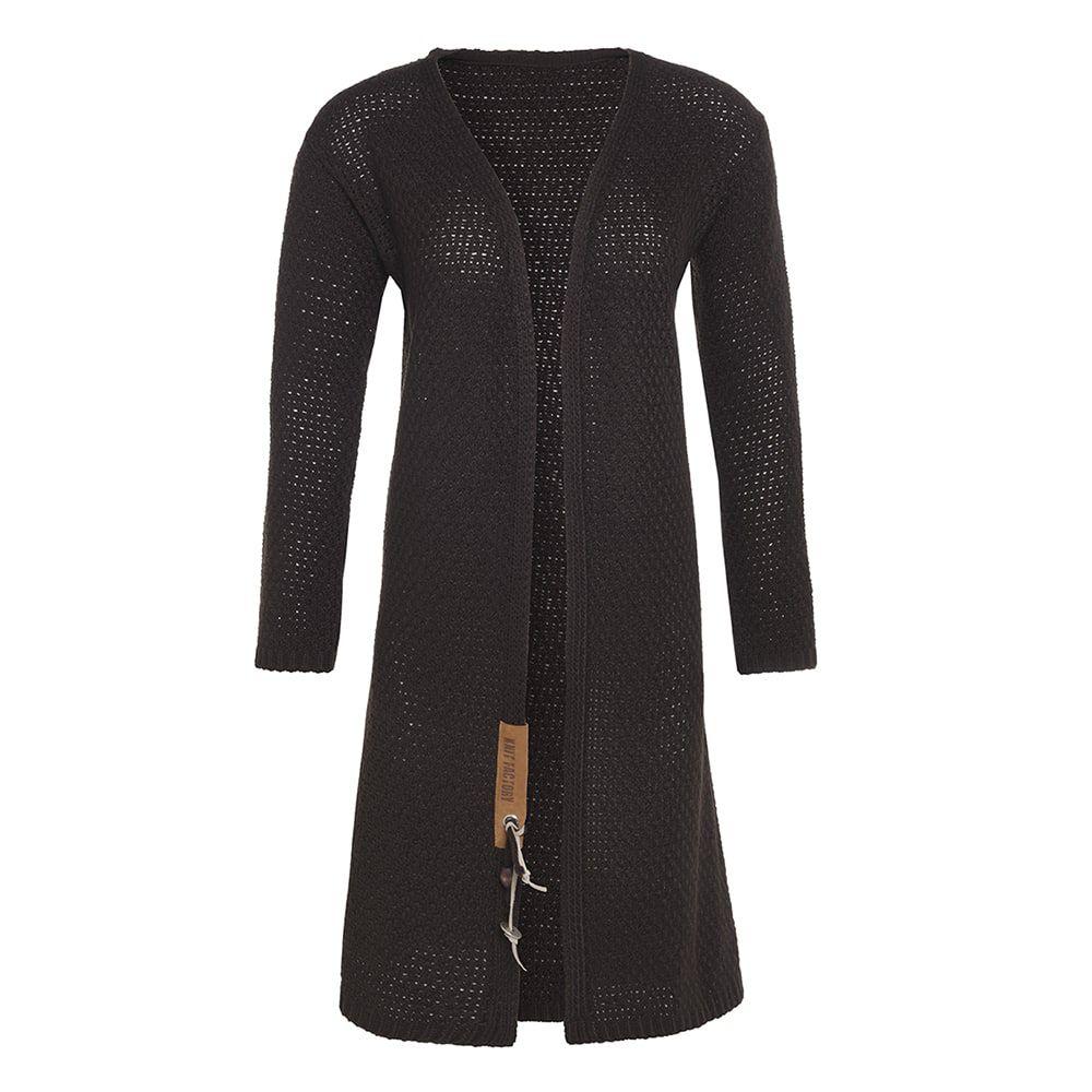 knit factory kf13308203749 luna lang vest donkerbruin 3638 1