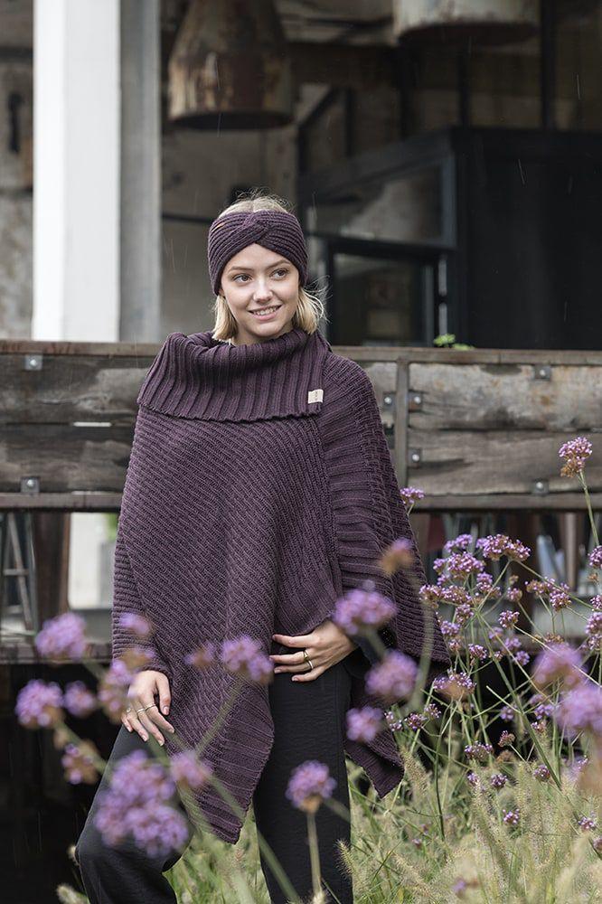 knit factory kf14806202350 nicky gebreide poncho aubergine 2