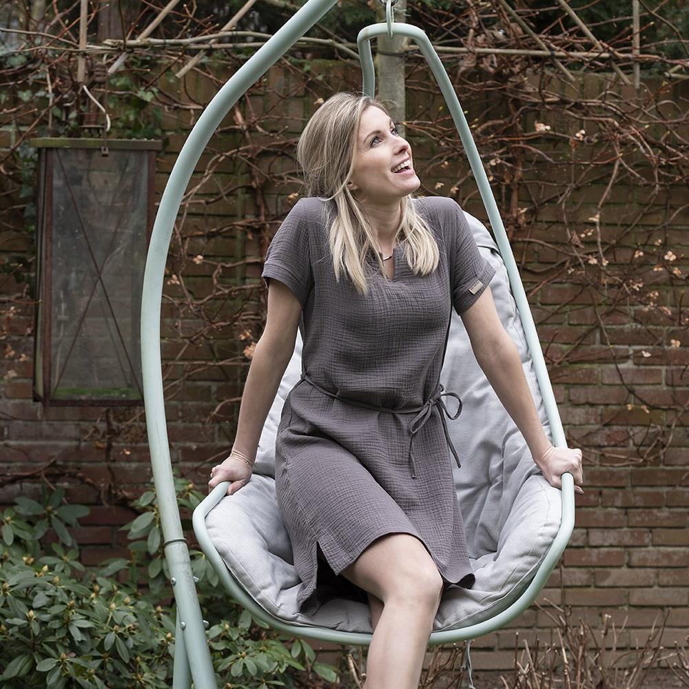 knit factory kf15012001050 indy jurk antraciet m 2