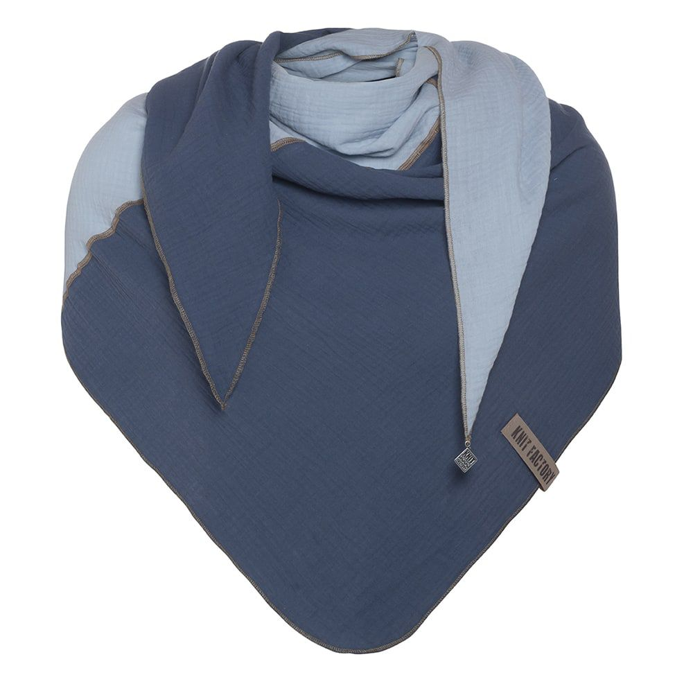 knit factory kf151060054 fay omslagdoek jeans indigo 1