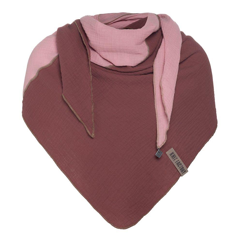 knit factory kf151060061 fay omslagdoek stone red roze 1