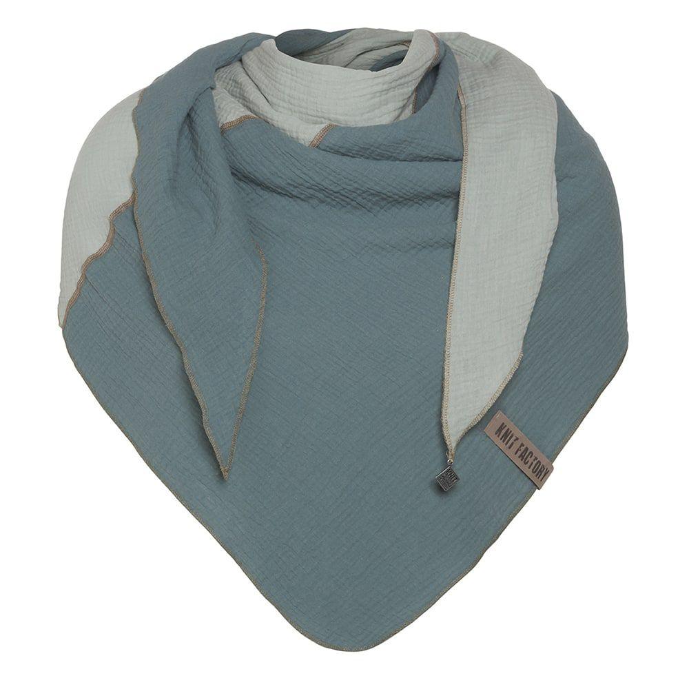 knit factory kf151060090 fay omslagdoek stone green vintage green 1