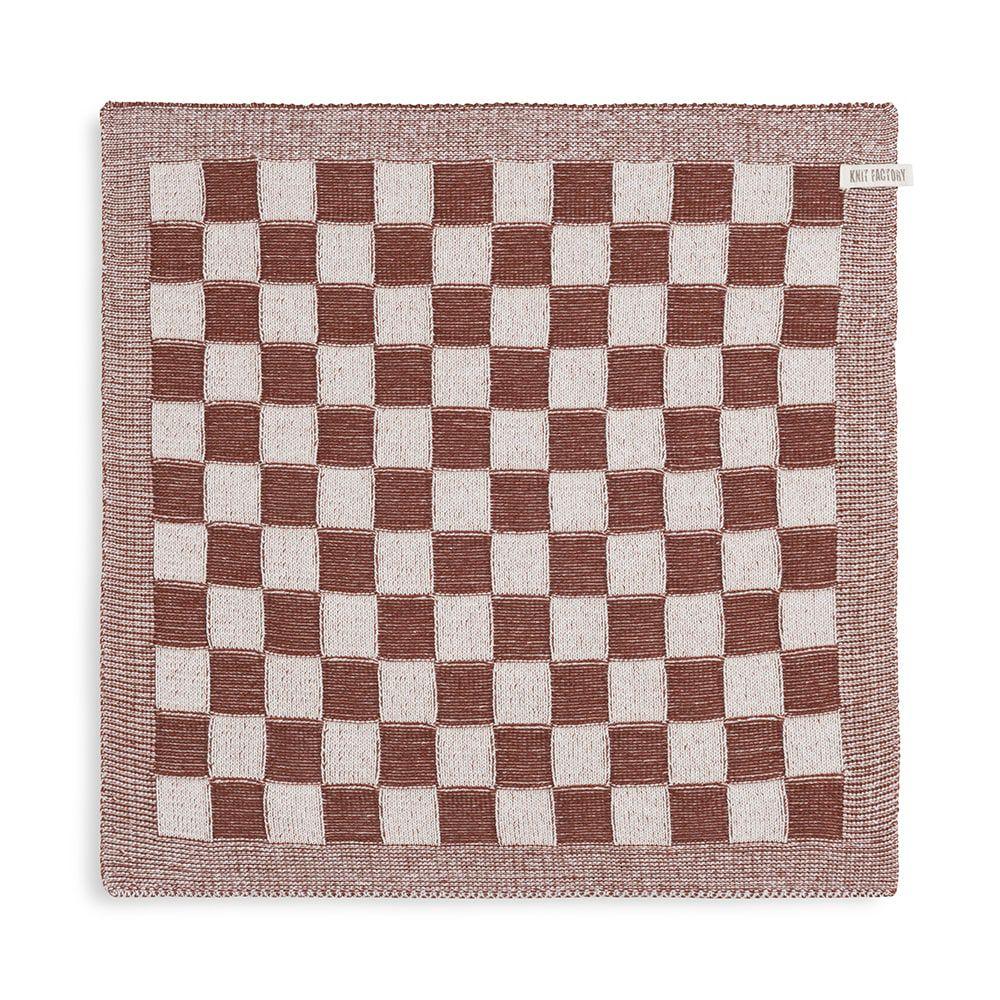 knit factory kf201200286 keukendoek block ecru roest 1
