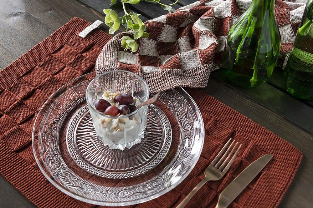 knit factory kf201200286 keukendoek block ecru roest 2