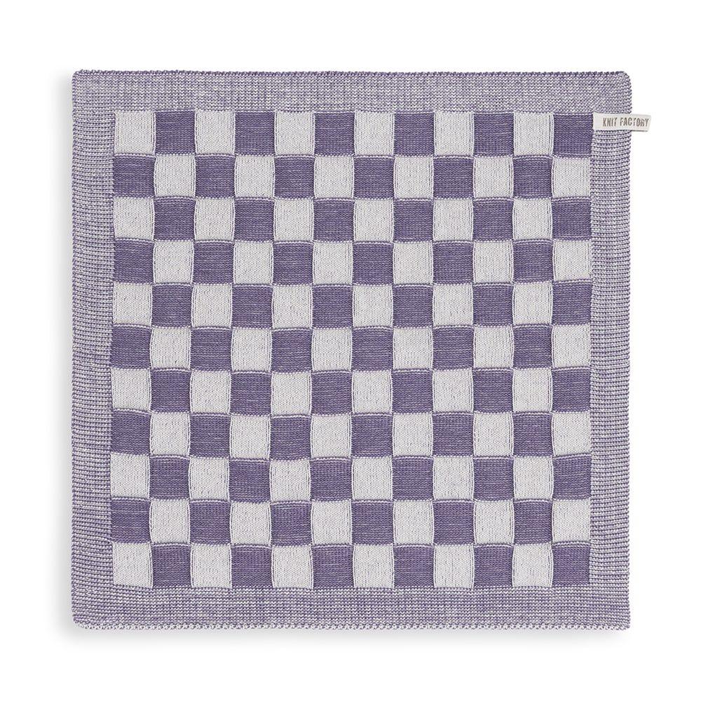 knit factory kf201200293 keukendoek block ecru violet 1