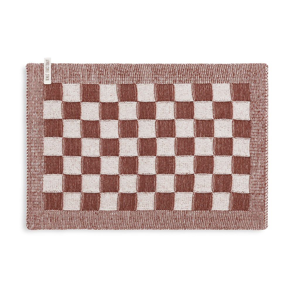 knit factory kf201202286 placemat block ecru roest 1