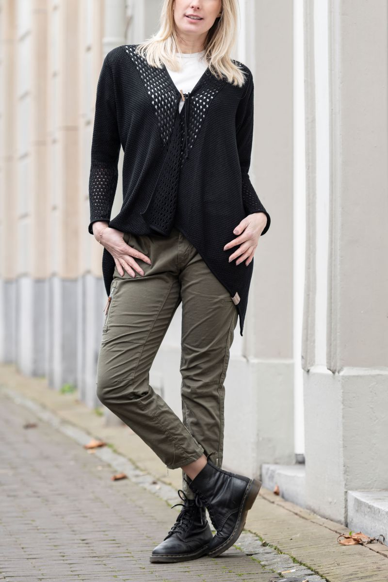 april knitted cardigan black 4042