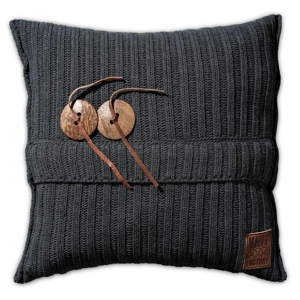 aran cushion anthracite 50x50