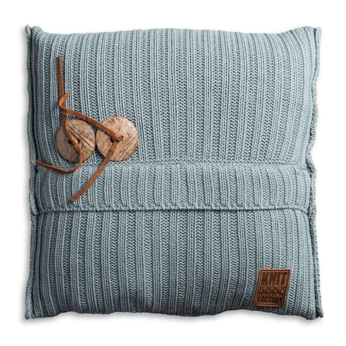 aran cushion stone green 50x50