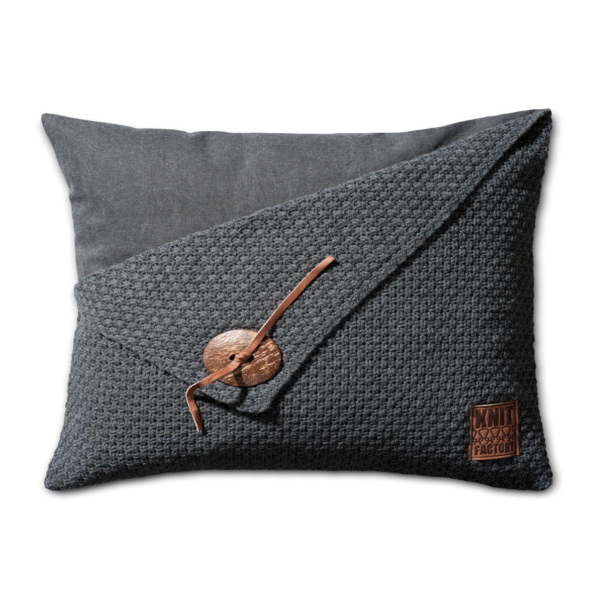 knit factory 1111310 kussen 60x40 barley antraciet