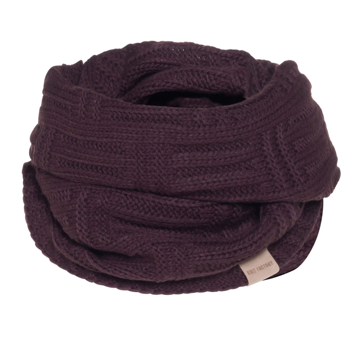 knit factory kf144066023 bobby colsjaal aubergine 1