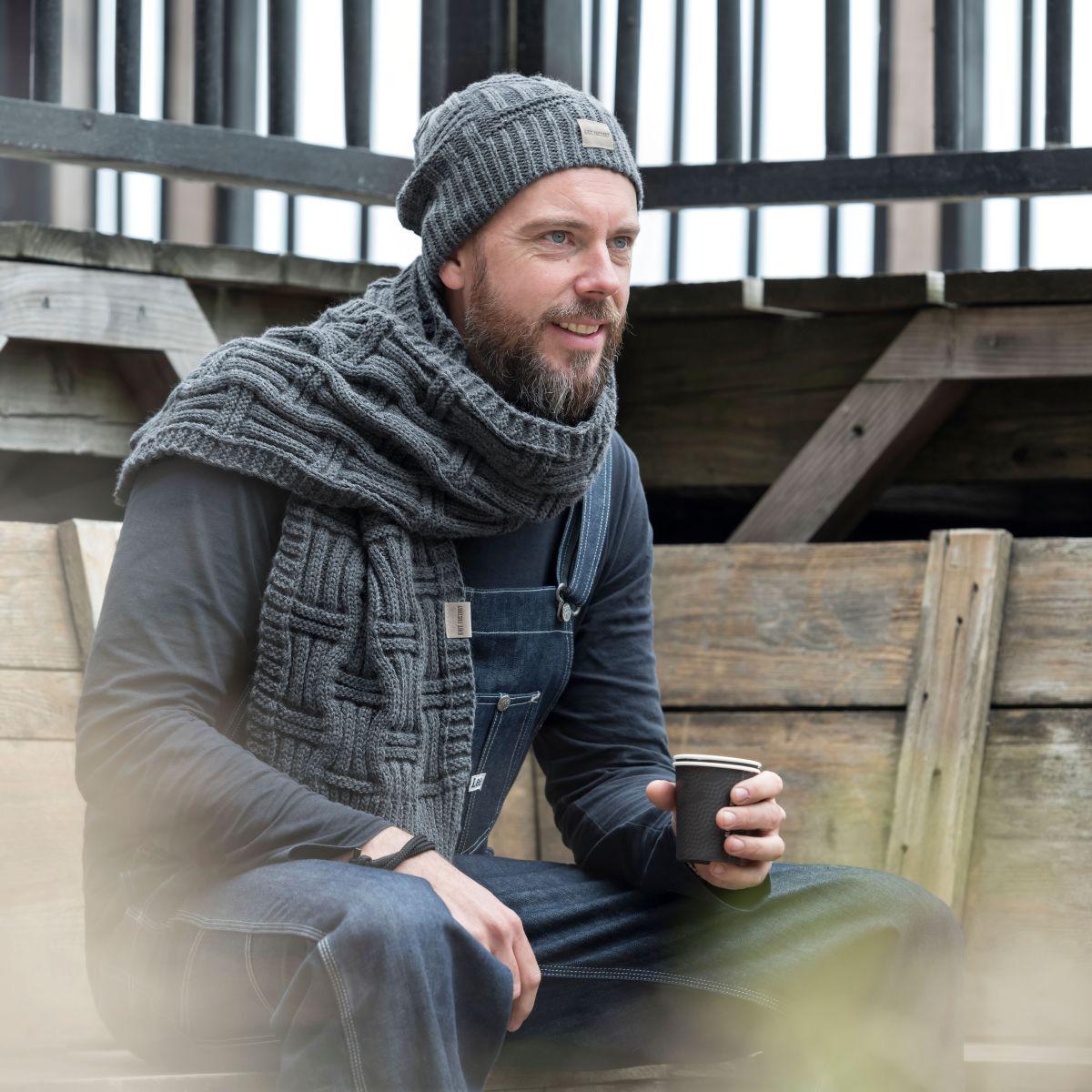 knit factory kf14406501050 bobby sjaal antraciet 5