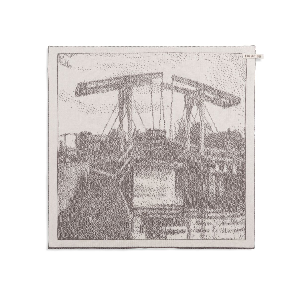 knit factory 2320078 keukendoek brug ecru taupe 1