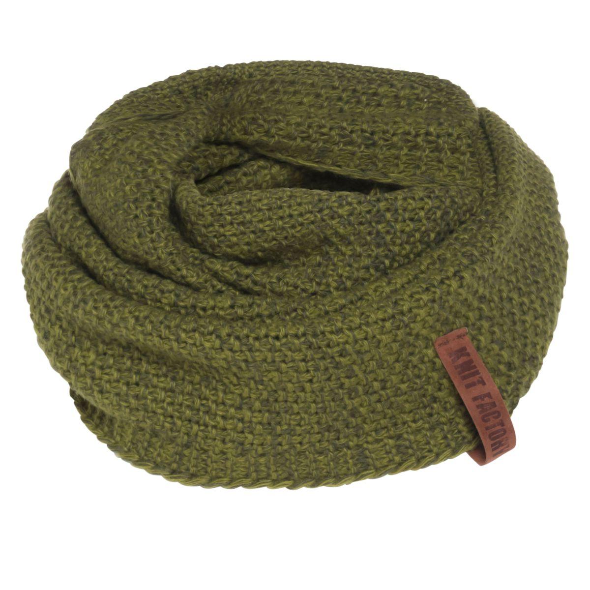 knit factory kf12006608550 coco colsjaal mosgroen khaki 1
