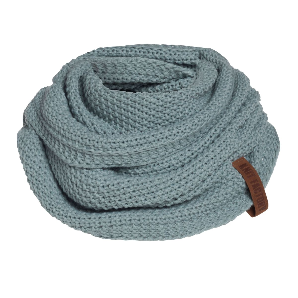 knit factory 1206609 coco colsjaal stone green 1