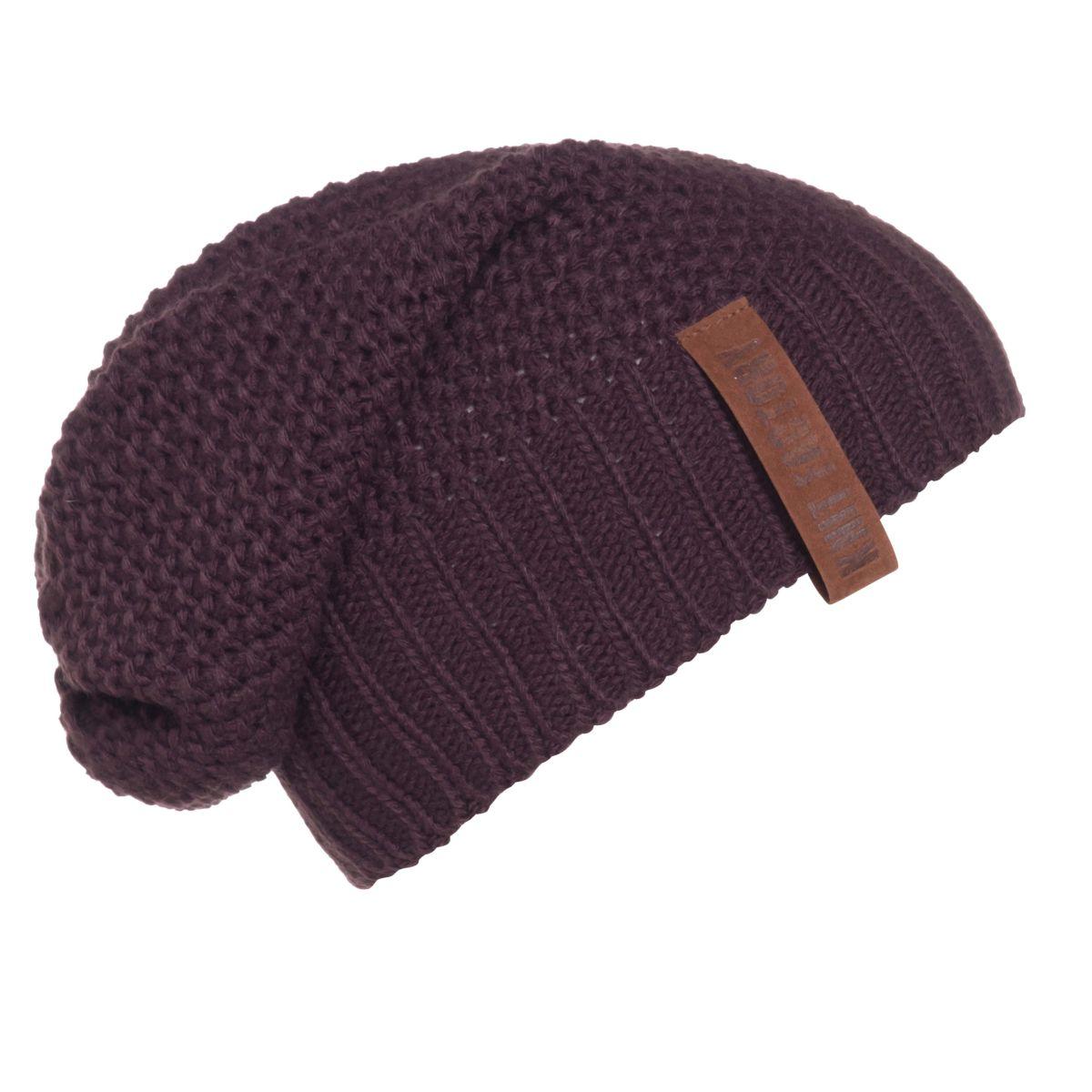 knit factory kf12007002350 coco beanie aubergine 1