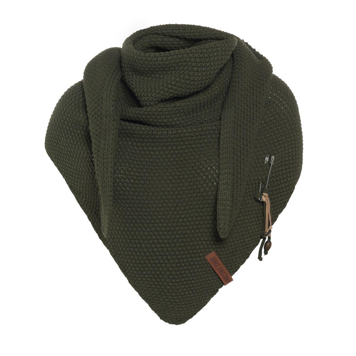 knit factory 1206025 coco omslagdoek khaki 1