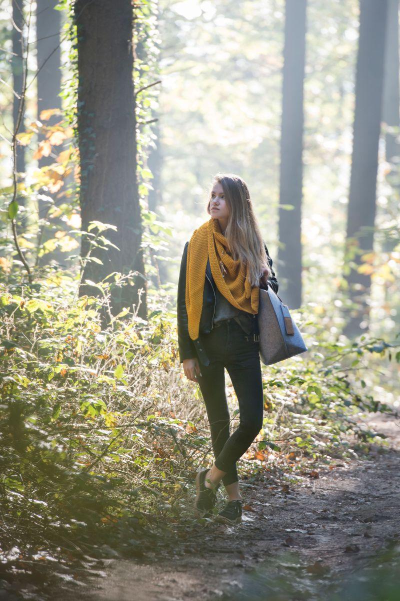 coco triangle scarf ochre