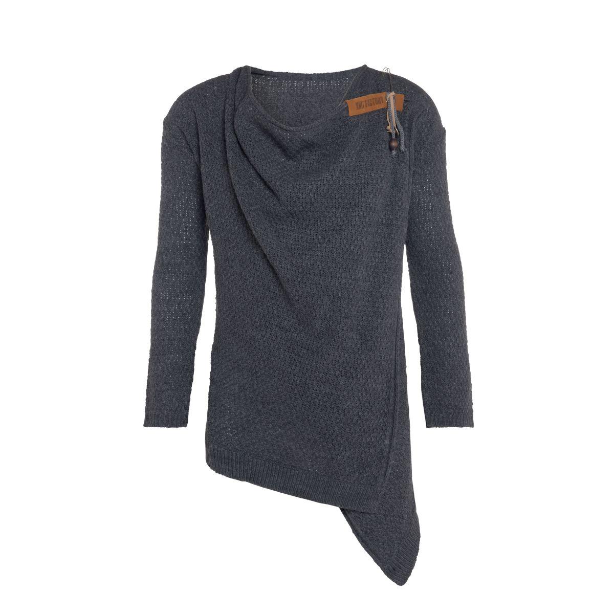 knit factory 1396310 emy vest 4042 antraciet 1