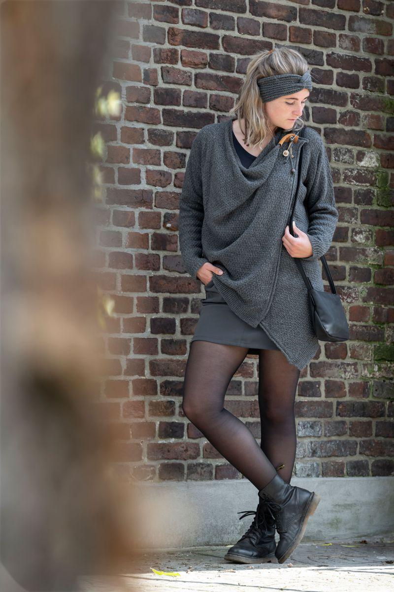 knit factory 1396310 emy vest 4042 antraciet 3