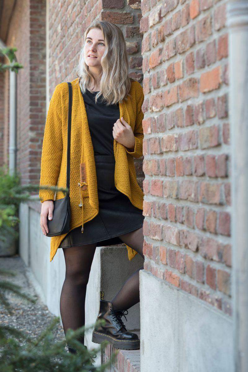 emy knitted cardigan ochre 4042