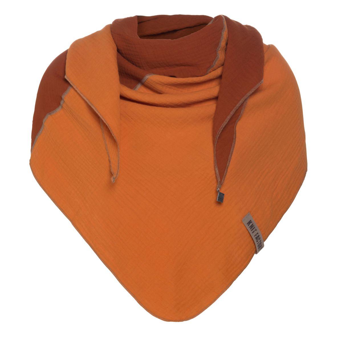 knit factory kf151060059 fay omslagdoek roest terra 1