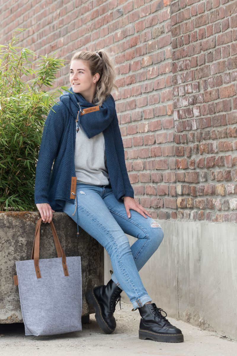 knit factory 1719111 gwen handtas licht grijs 3
