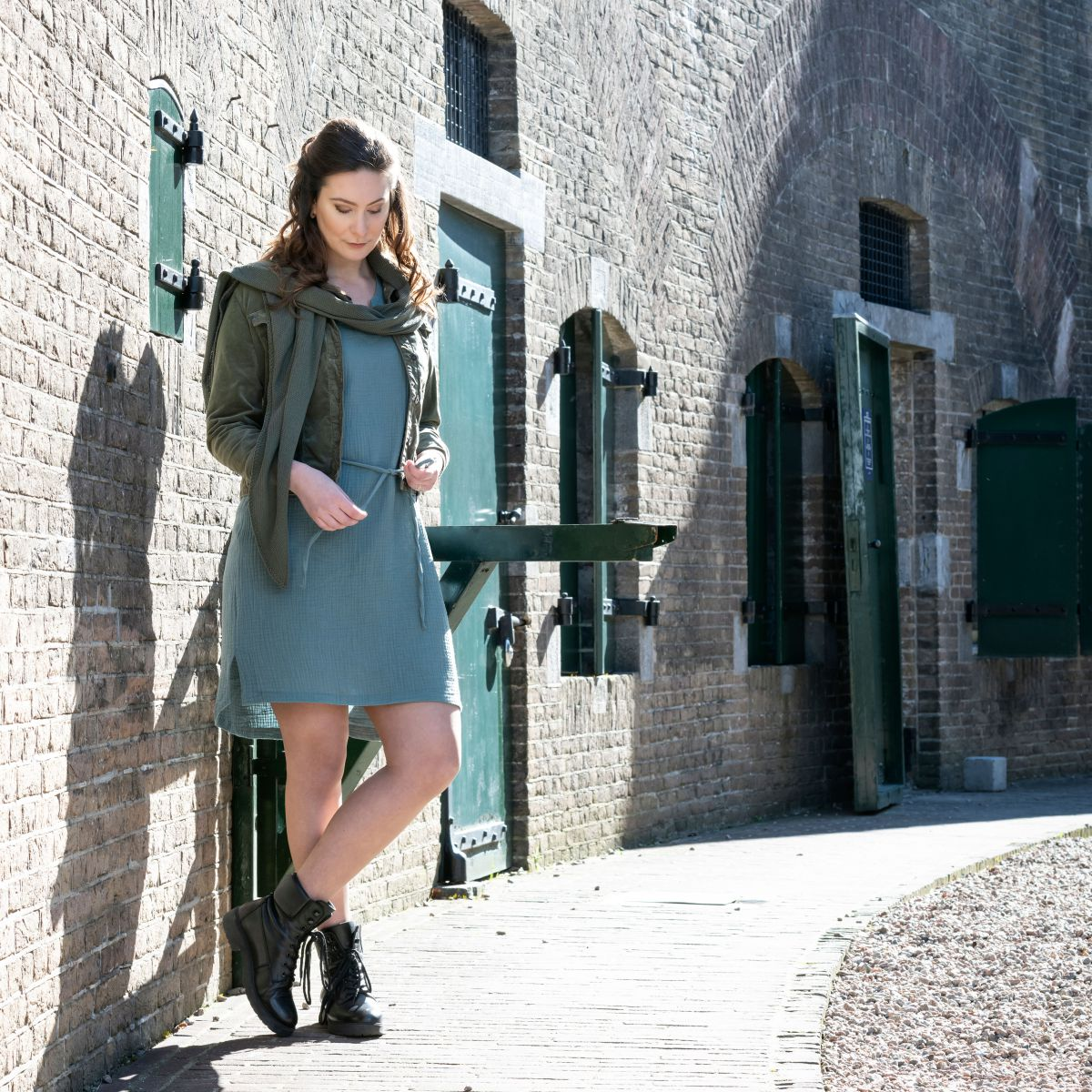 knit factory kf15012000949 indy jurk stone green s 3
