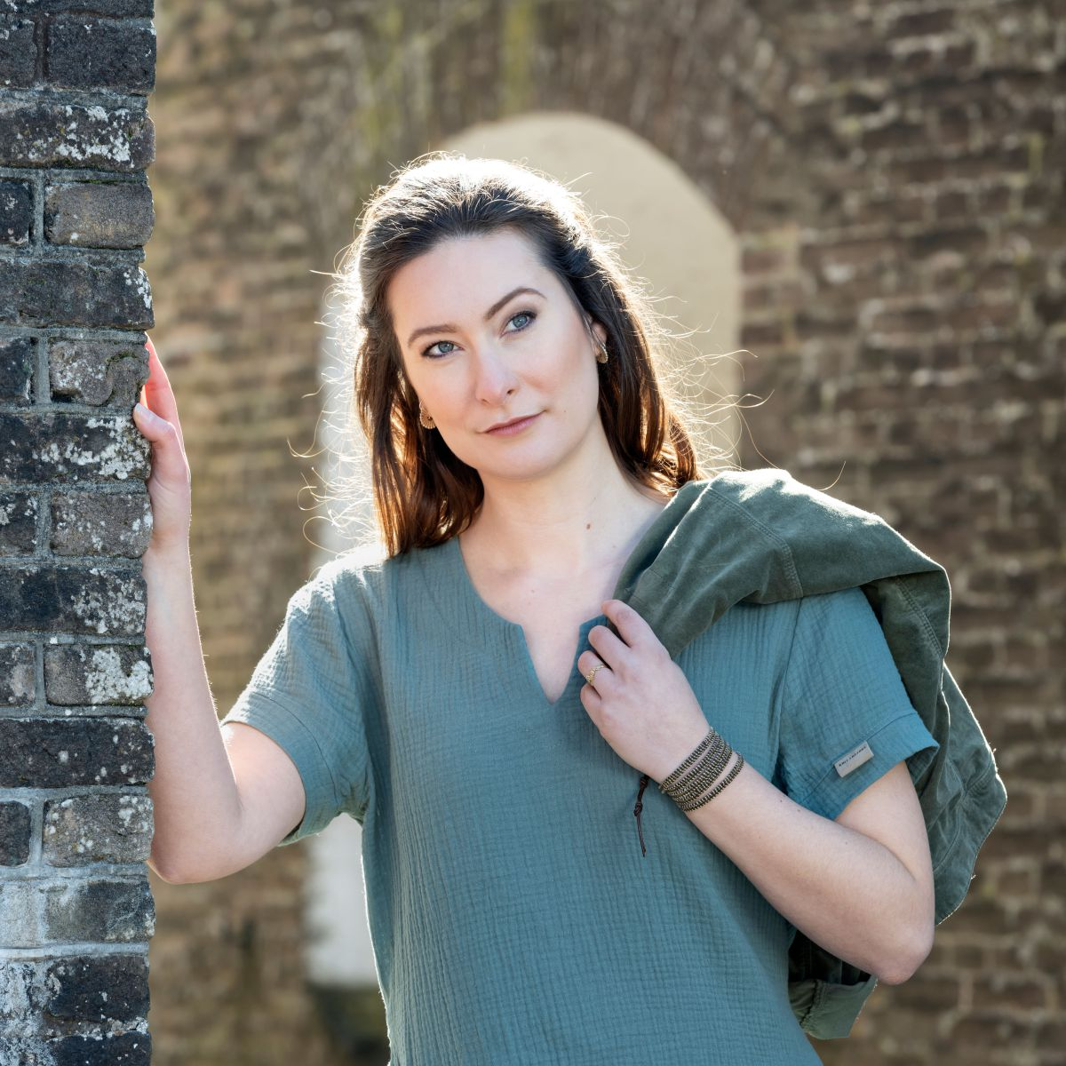 knit factory kf15012000952 indy jurk stone green xl 3