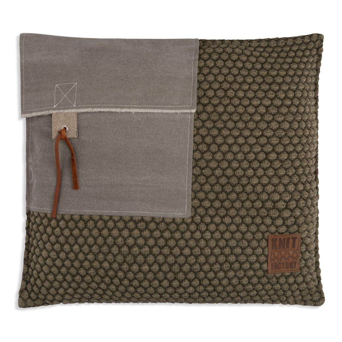 knit factory 1251244 kussen 50x50 jack groen olive 1