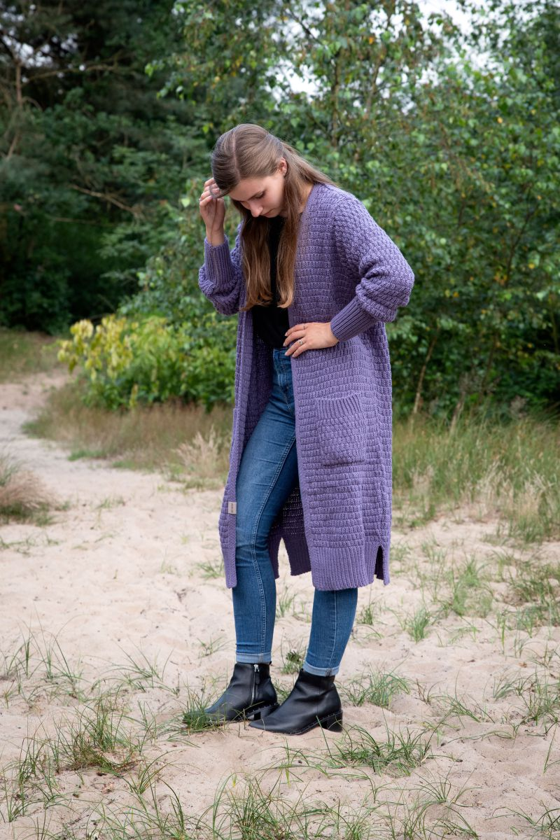 jaida lang gebreid vest violet 3638 met steekzakken