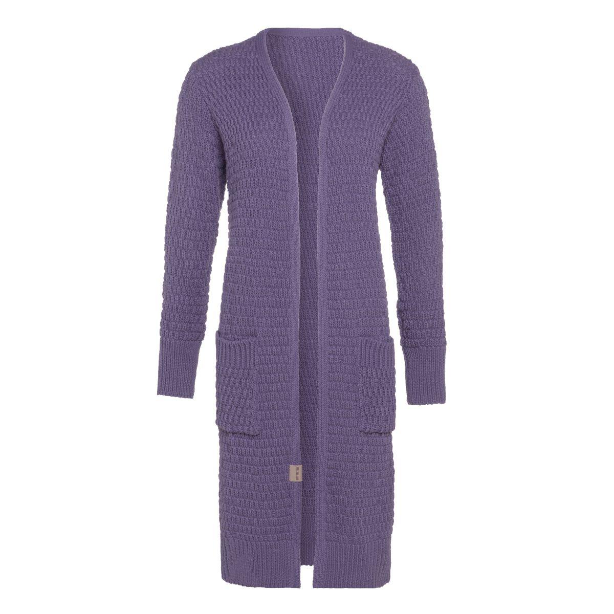 jaida lange strickjacke violett 3638 mit taschen