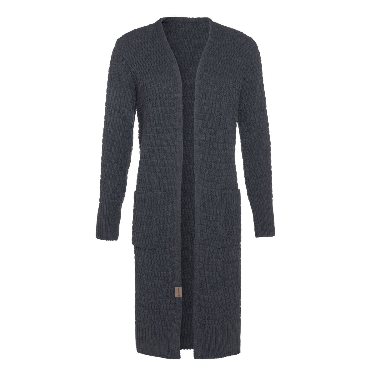 jaida long knitted cardigan anthracite 3638 with side pockets