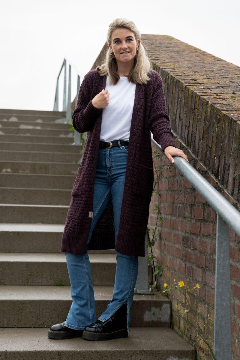 jaida long knitted cardigan aubergine 3638 with side pockets