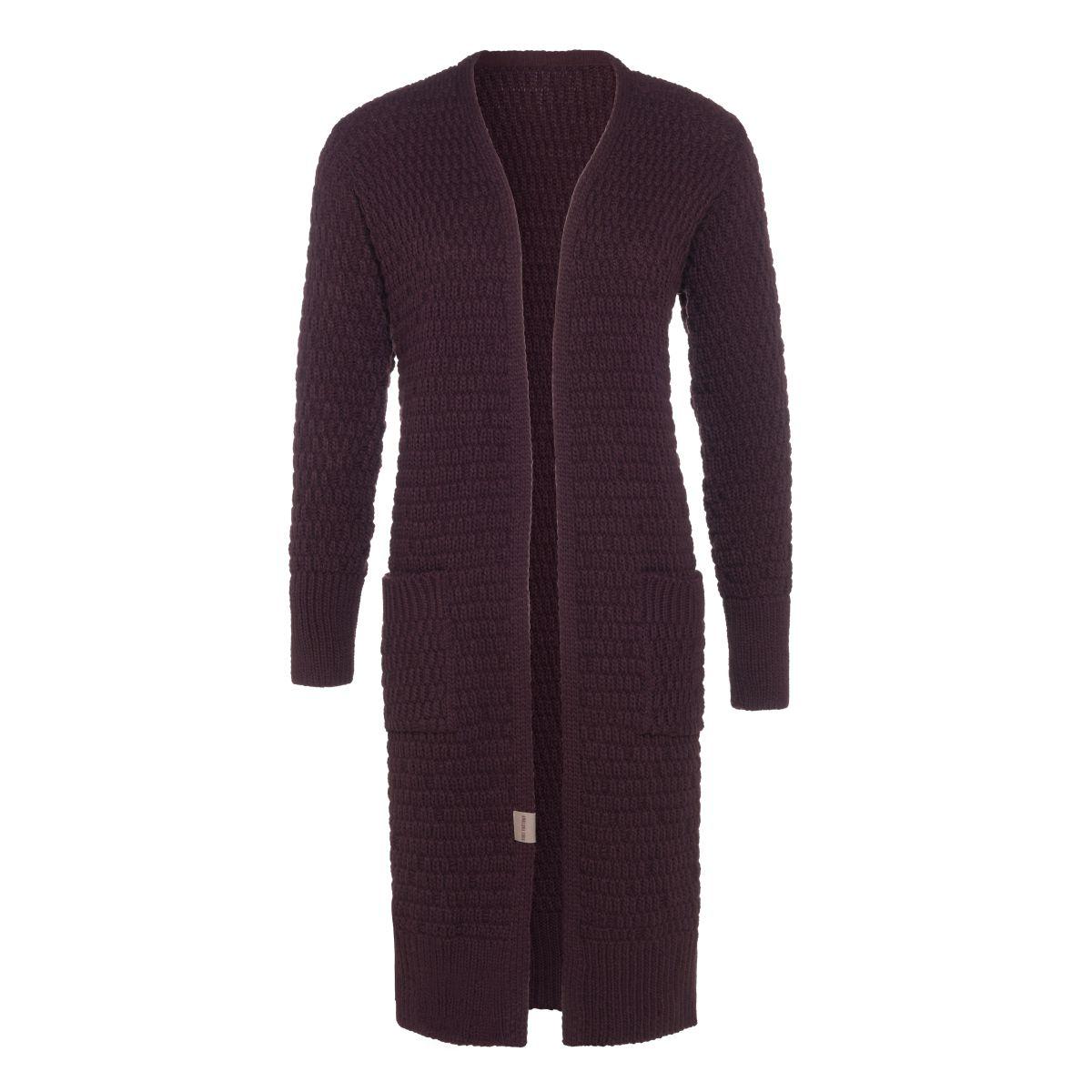 jaida long knitted cardigan aubergine 4042 with side pockets