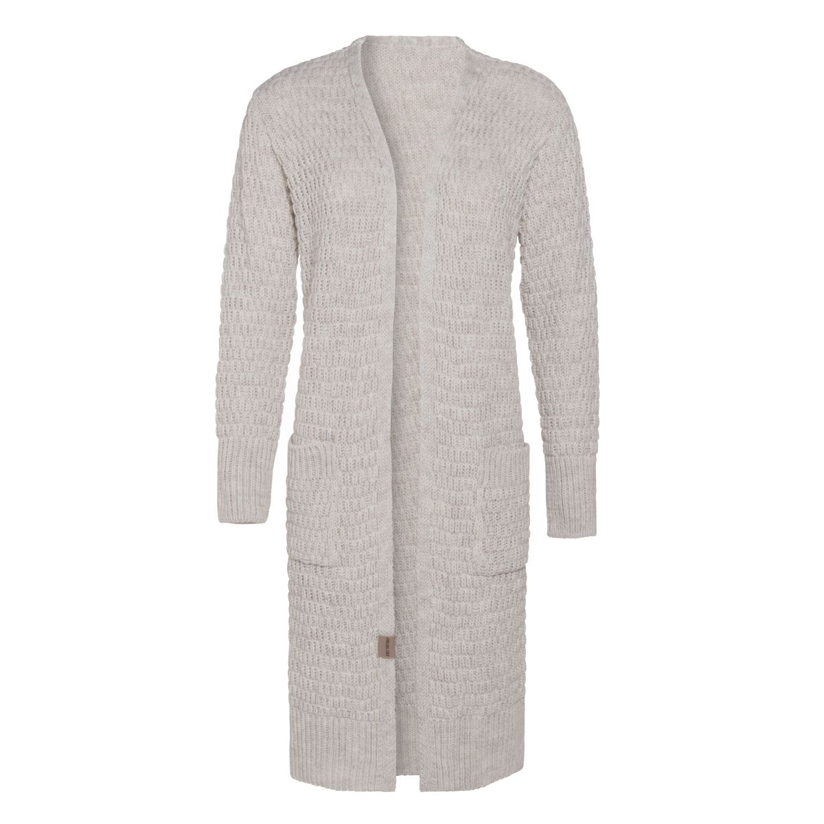 jaida long knitted cardigan beige 4042 with side pockets