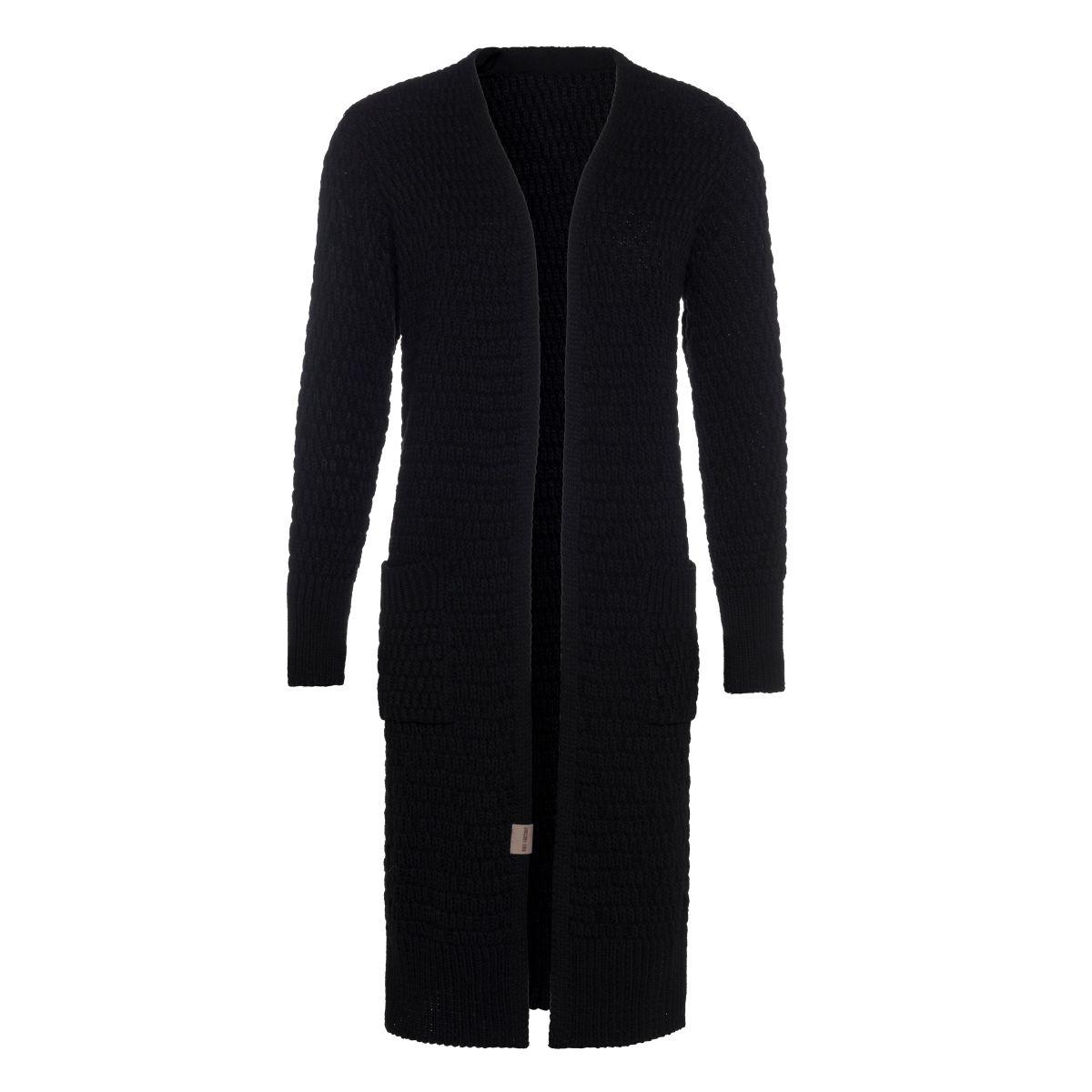jaida long knitted cardigan black 3638 with side pockets