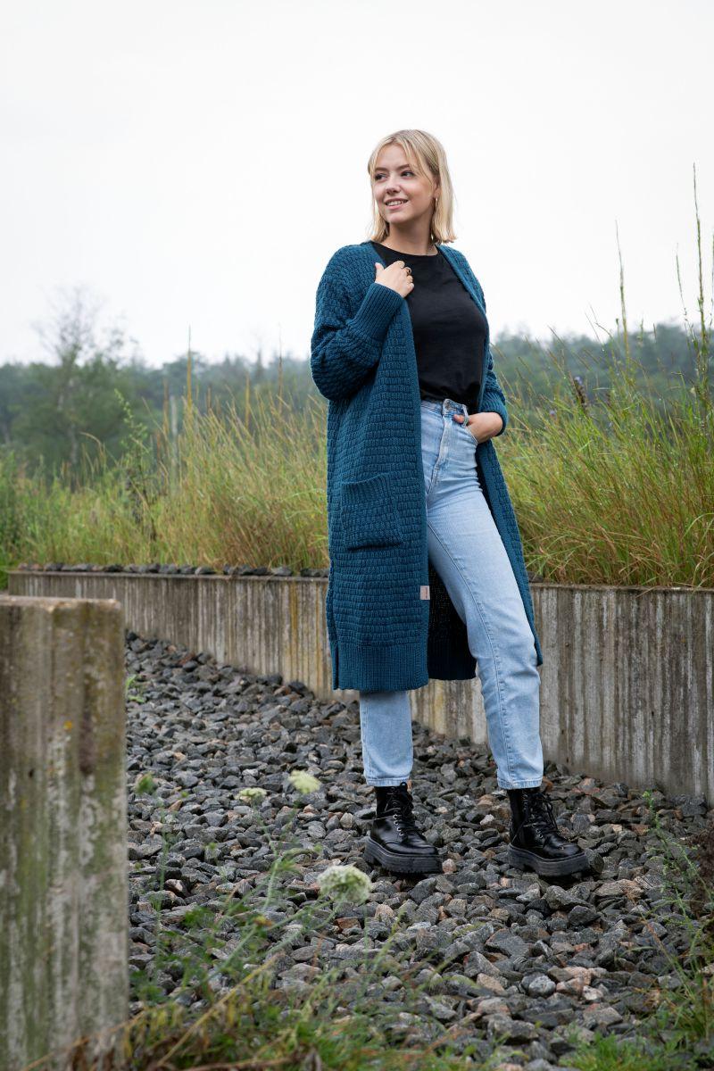 jaida long knitted cardigan ochre 4042 with side pockets