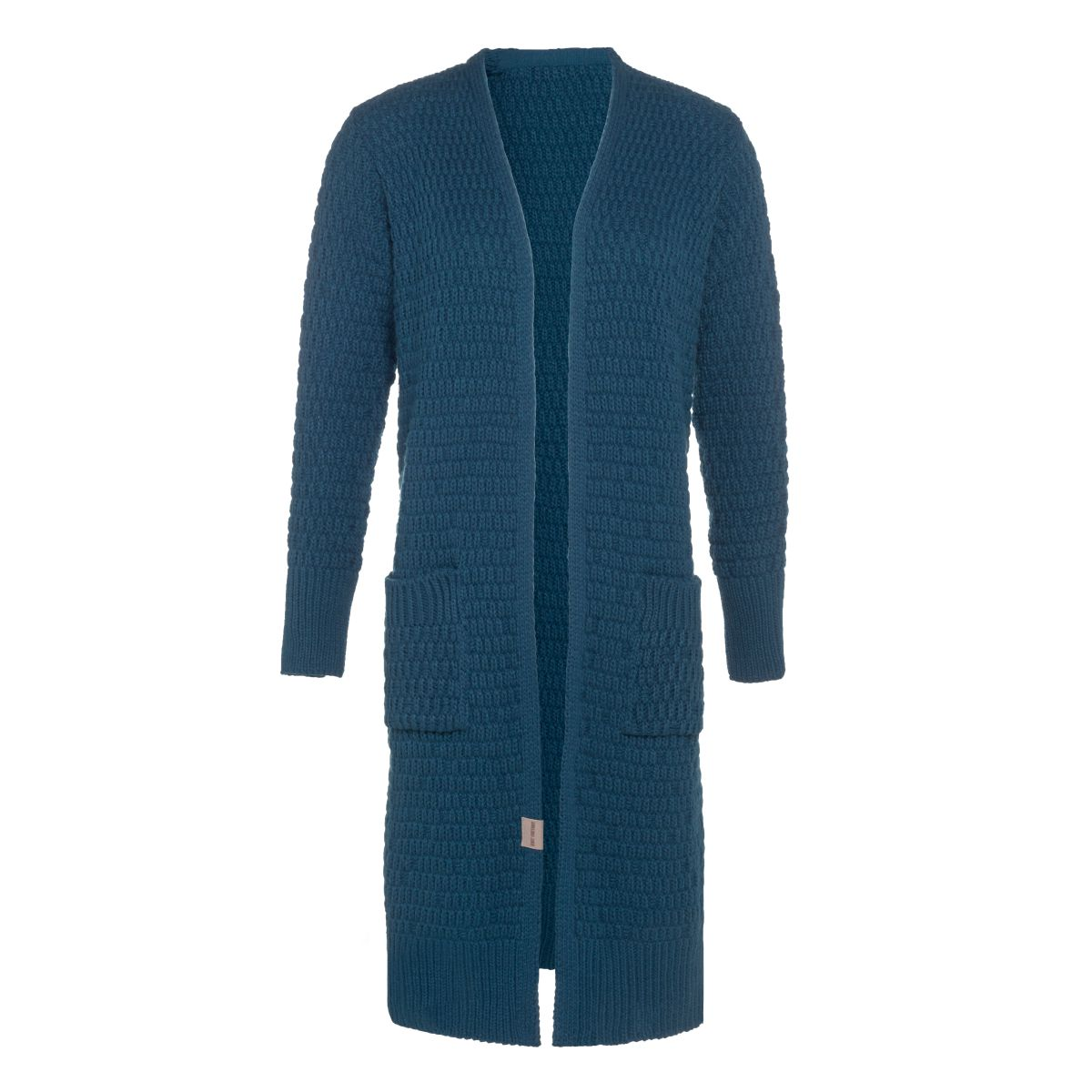jaida long knitted cardigan petrol 4042 with side pockets